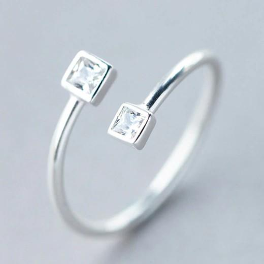 Sterling Silver Square Opening Ring - 925 Real Silver Ring - Classic Silver Ring - Adjustable Cocktail Ring Lux & Rose
