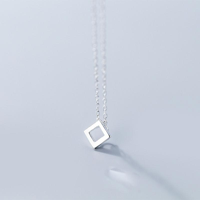 Sterling Silver Square Pendant Necklace - 925 Real Silver Necklace - Classic Silver Necklace Lux & Rose