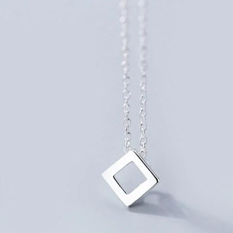 Sterling Silver Square Pendant Necklace - 925 Real Silver Necklace - Classic Silver Necklace Lux & Rose Default Title