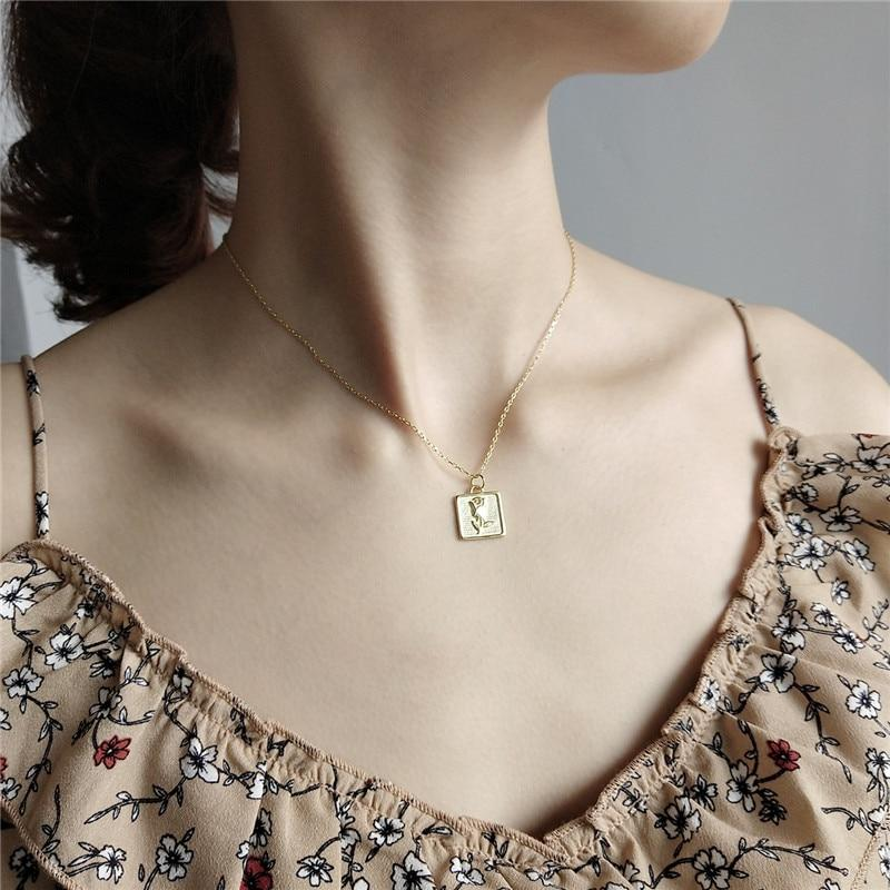 Sterling Silver Square Rose Pendant Necklace - 925 Real Silver Necklace - Classic Silver Necklace Lux & Rose