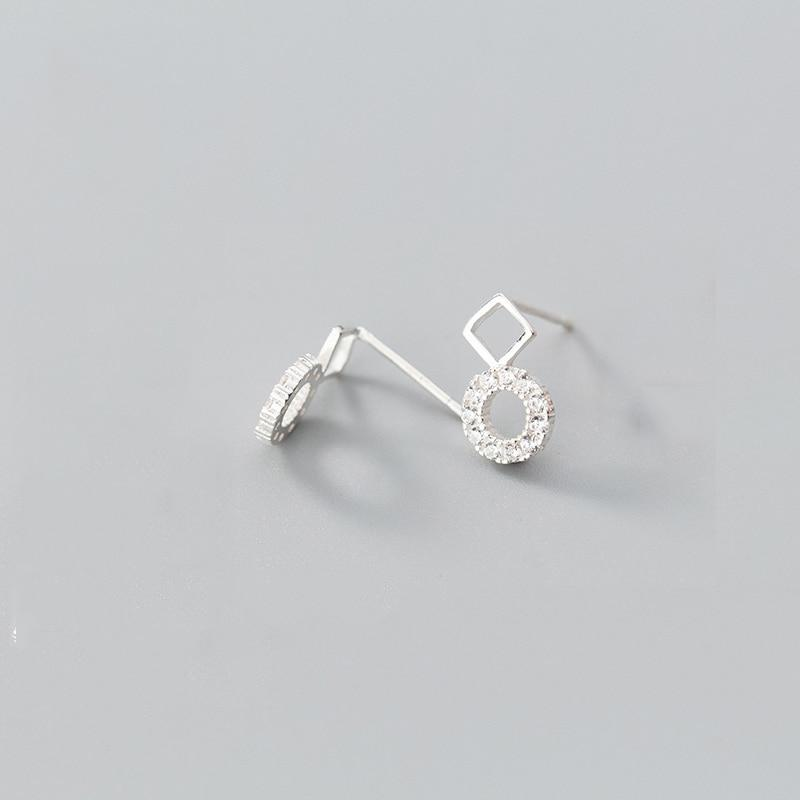 Sterling Silver Square Round Earrings - 925 Stud Earrings - 925 Real Silver Earrings - Playful Silver Earrings Lux & Rose