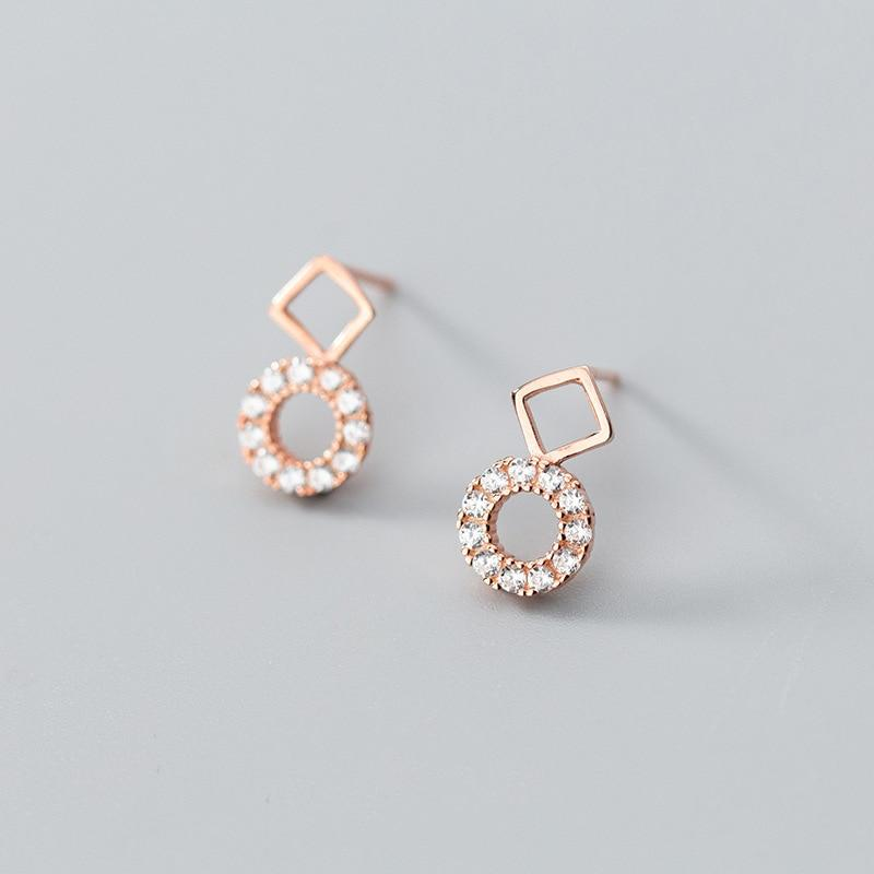 Sterling Silver Square Round Earrings - 925 Stud Earrings - 925 Real Silver Earrings - Playful Silver Earrings Lux & Rose Rose gold