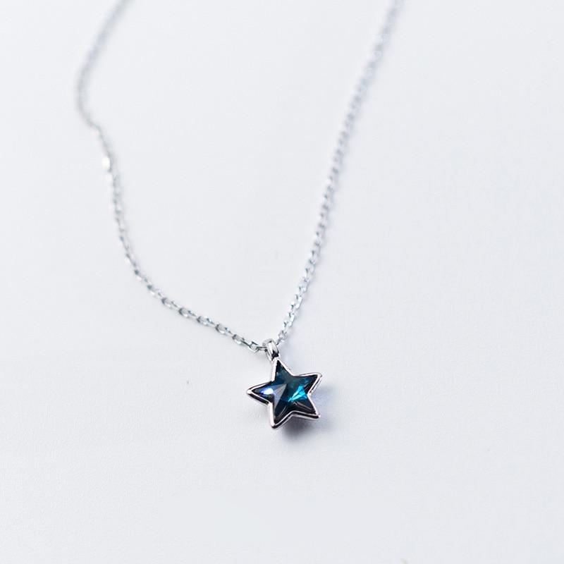 Sterling Silver Star Blue CZ Necklace - 925 Real Silver Necklace - Classic Silver Necklace Lux & Rose