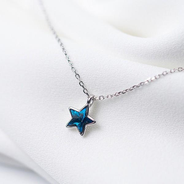 Sterling Silver Star Blue CZ Necklace - 925 Real Silver Necklace - Classic Silver Necklace Lux & Rose Default Title