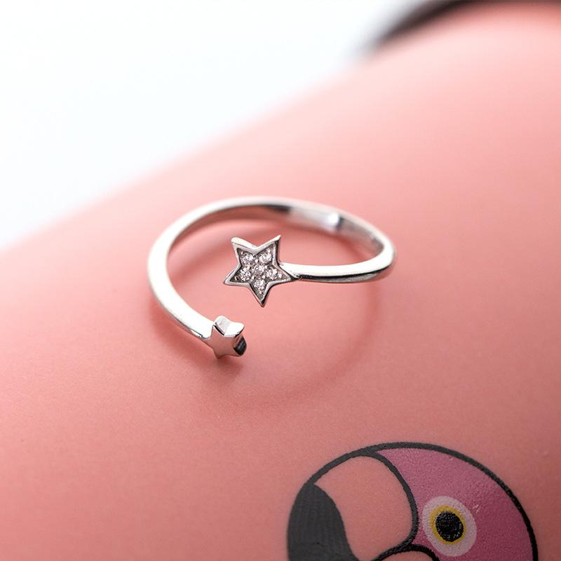 Sterling Silver Star CZ Ring - 925 Real Silver Ring - Classic Silver Ring - Adjustable Cocktail Ring Lux & Rose