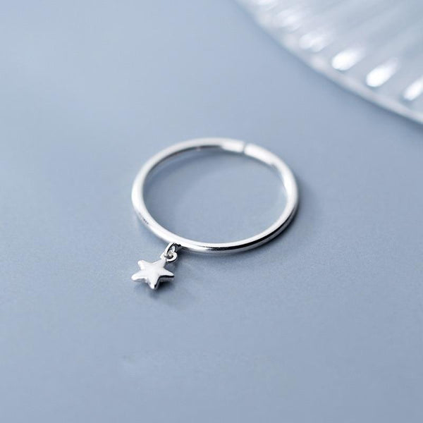 Sterling Silver Star Dangle Ring - 925 Real Silver Ring - Classic Silver Ring - Adjustable Cocktail Ring Lux & Rose