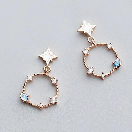 Sterling Silver Star Hoop Earrings - 925 Real Silver Earrings - Playful Silver Earrings - Zircon Earrings Lux & Rose