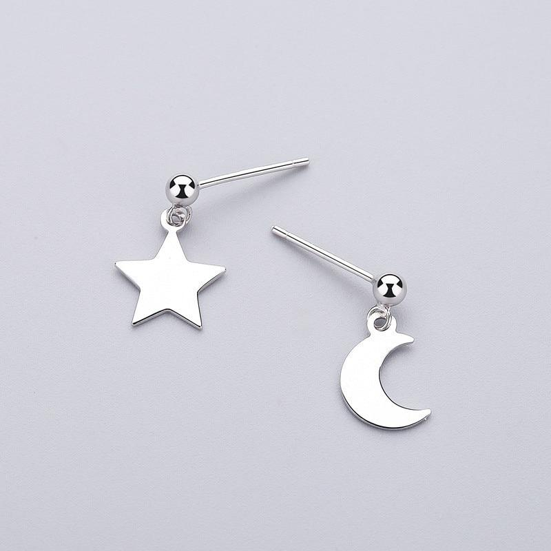 Sterling Silver Star Moon Asymmetrical Earrings - Dangle Earrings - 925 Real Silver Earrings - Playful Silver Earrings Lux & Rose