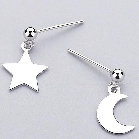 Sterling Silver Star Moon Asymmetrical Earrings - Dangle Earrings - 925 Real Silver Earrings - Playful Silver Earrings Lux & Rose Default Title