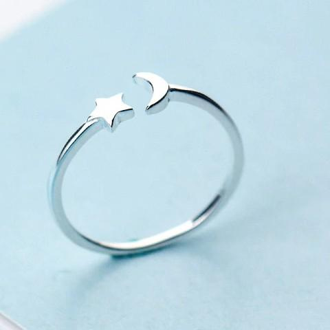 Sterling Silver Star Moon Cocktail Ring - 925 Real Silver Ring - Classic Silver Ring - Adjustable Cocktail Ring Lux & Rose
