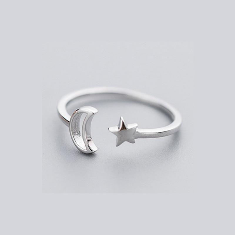 Sterling Silver Star Moon Ring - 925 Real Silver Ring - Classic Silver Ring - Adjustable Cocktail Ring Lux & Rose 1 Pcs Silver Ring Resizable
