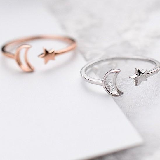 Sterling Silver Star Moon Ring - 925 Real Silver Ring - Classic Silver Ring - Adjustable Cocktail Ring Lux & Rose