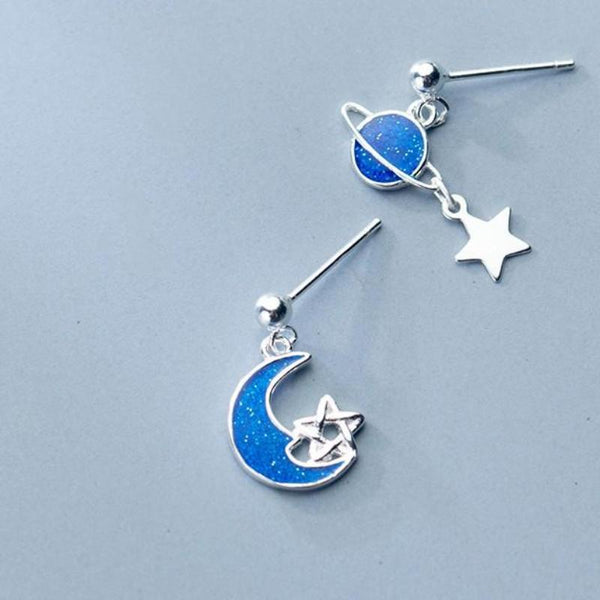 Sterling Silver Star Planet Blue Moon Earrings - Dangle Galaxy Earrings - 925 Real Silver Saturn Earrings - Universe Silver Earrings Lux & Rose