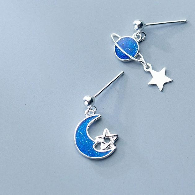 Sterling Silver Star Planet Blue Moon Earrings - Dangle Galaxy Earrings - 925 Real Silver Saturn Earrings - Universe Silver Earrings Lux & Rose Default Title