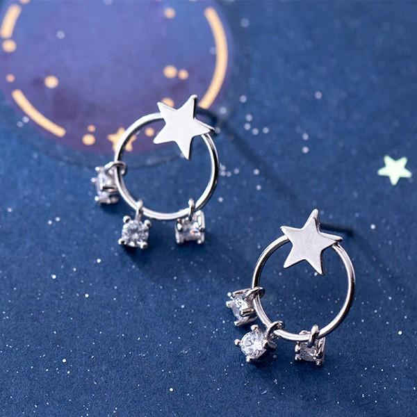 Sterling Silver Star Round Dangle Hoop Zircon Earrings - Dangle Earring - Hoop Earring - 925 Real Silver Earrings - Playful Silver Earrings Lux & Rose