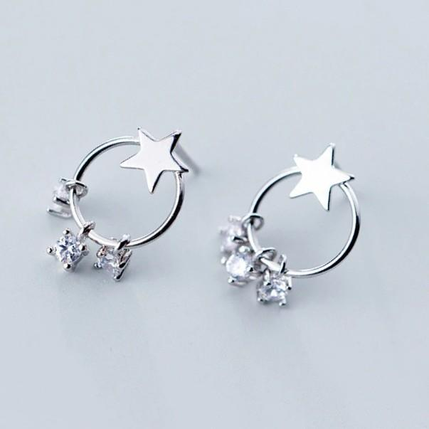 Sterling Silver Star Round Dangle Hoop Zircon Earrings - Dangle Earring - Hoop Earring - 925 Real Silver Earrings - Playful Silver Earrings Lux & Rose Default Title
