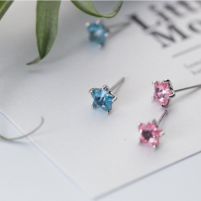 Sterling Silver Star Stone Stud Earrings - 925 Stud Earrings - 925 Real Silver Earrings - Playful Silver Earrings Lux & Rose