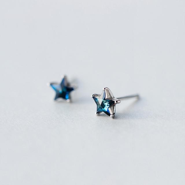 Sterling Silver Star Stone Stud Earrings - 925 Stud Earrings - 925 Real Silver Earrings - Playful Silver Earrings Lux & Rose Blue