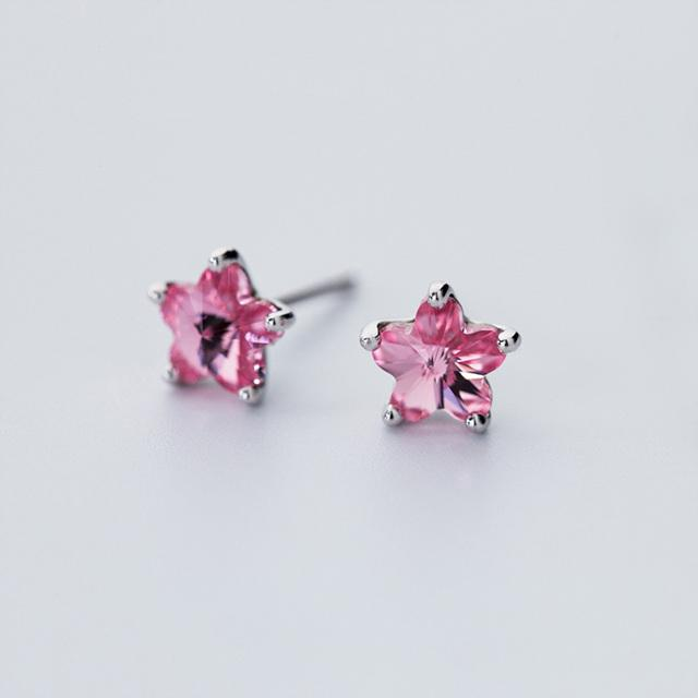 Sterling Silver Star Stone Stud Earrings - 925 Stud Earrings - 925 Real Silver Earrings - Playful Silver Earrings Lux & Rose Pink