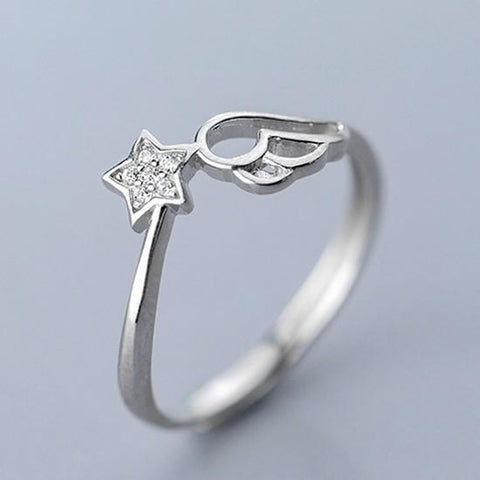 Sterling Silver Star Wing Ring - 925 Real Silver Rings - Classic Silver Rings - Adjustable Cocktail Ring Lux & Rose