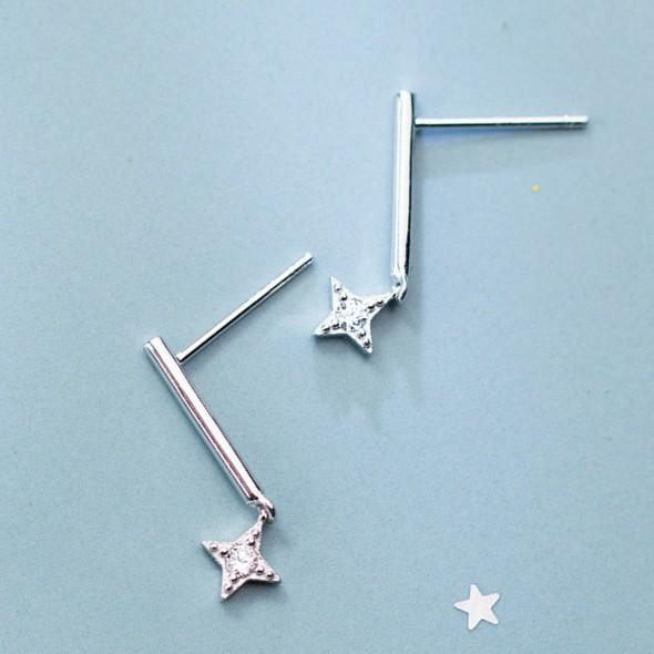Sterling Silver Stick Star Earrings - 925 Stud Earrings - 925 Real Silver Earrings - Playful Silver Earrings Lux & Rose Default Title