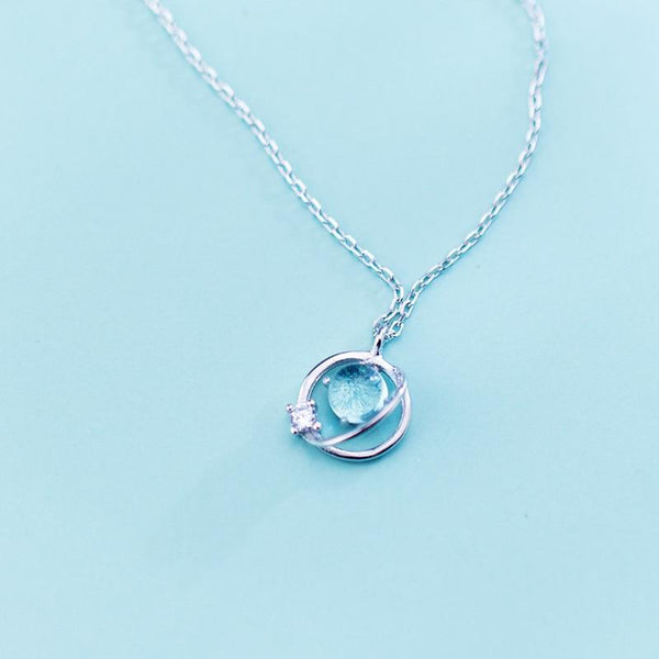 Sterling Silver Stone Planet Necklace - 925 Real Silver Necklace - Classic Silver Necklace Lux & Rose