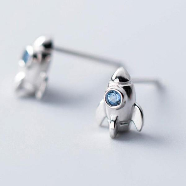 Sterling Silver Stone Rocket Stud Earrings - 925 Real Silver Earrings - Playful Silver Earrings Lux & Rose 1Pair Silver