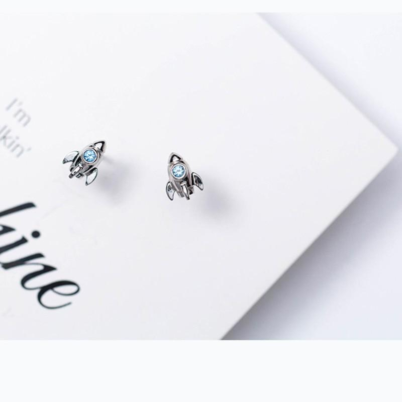 Sterling Silver Stone Rocket Stud Earrings - 925 Real Silver Earrings - Playful Silver Earrings Lux & Rose