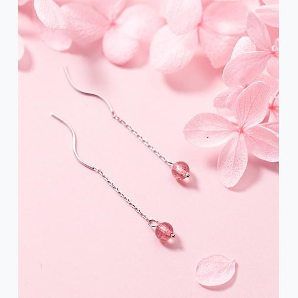 Sterling Silver Strawberry Beads Threader Earrings - 925 Real Silver Earrings - Quartz Earrings - Dangly Delicate Earrings - Chain Earrings - Crystal Linked Earrings Lux & Rose
