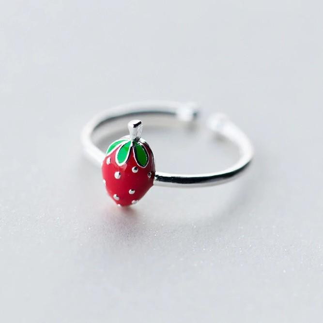 Sterling Silver Strawberry Cocktail Ring - 925 Real Silver Ring - Classic Silver Ring - Adjustable Cocktail Ring Lux & Rose