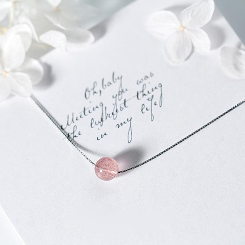 Sterling Silver Strawberry Crystal Pendant Necklace - 925 Real Silver Necklace - Classic Silver Necklace Lux & Rose