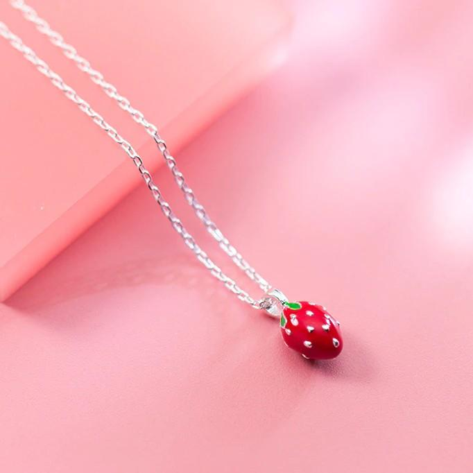 Sterling Silver Strawberry Pendant Necklace - 925 Real Silver Necklace - Classic Silver Necklace Lux & Rose