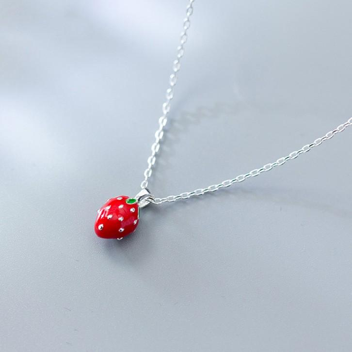 Sterling Silver Strawberry Pendant Necklace - 925 Real Silver Necklace - Classic Silver Necklace Lux & Rose Default Title