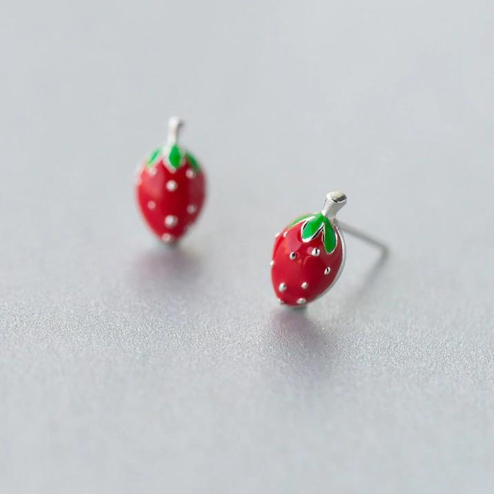 Sterling Silver Strawberry Stud Earrings - 925 Stud Earrings - 925 Real Silver Earrings - Playful Silver Earrings Lux & Rose