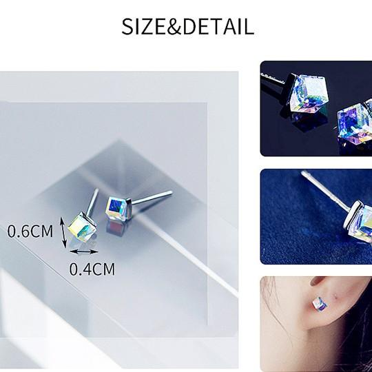 Sterling Silver Sugar Cube Earrings - 925 Stud Earrings - 925 Real Silver Earrings - Playful Silver Earrings Lux & Rose