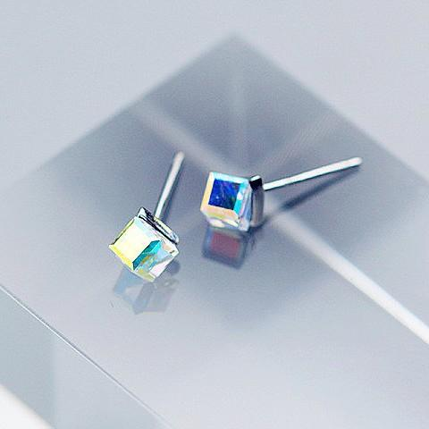 Sterling Silver Sugar Cube Earrings - 925 Stud Earrings - 925 Real Silver Earrings - Playful Silver Earrings Lux & Rose Default Title