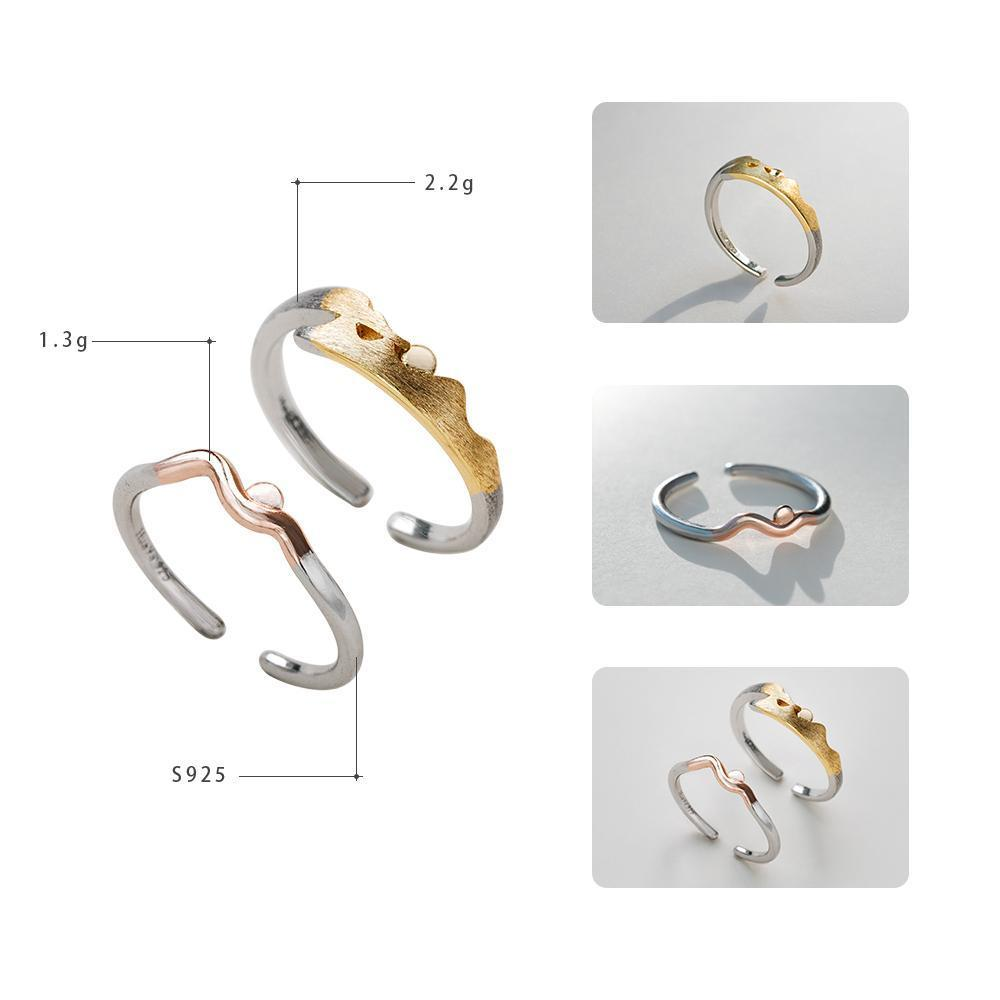 Sterling Silver Sunrise Sunset Wave Couple Rings - 925 Real Silver Ring Set - Sunset Ring - Sunrise Ring Lux & Rose