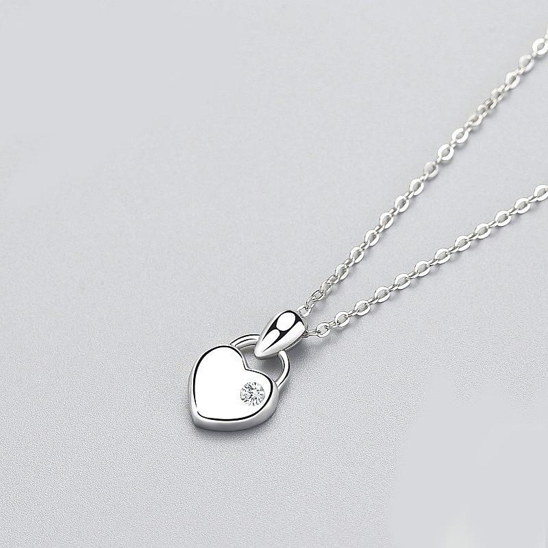 Sterling Silver Surface Lock Pendant Necklace - 925 Real Silver Necklace - Classic Silver Necklace Lux & Rose