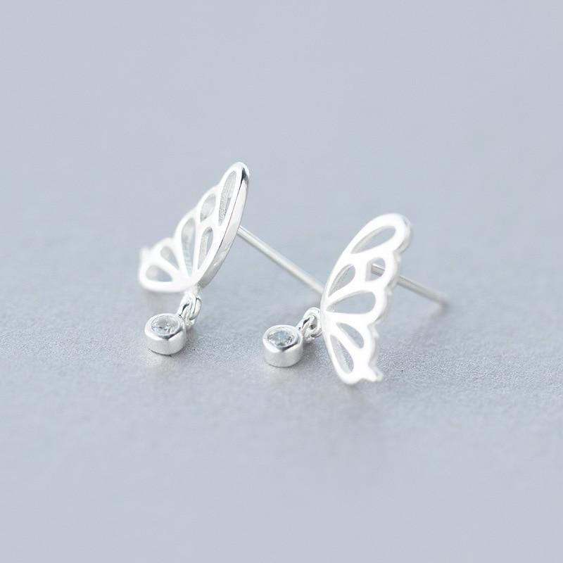 Sterling Silver Symmetry Butterfly Stud Earrings - 925 Real Silver Earrings - Playful Silver Earrings Lux & Rose