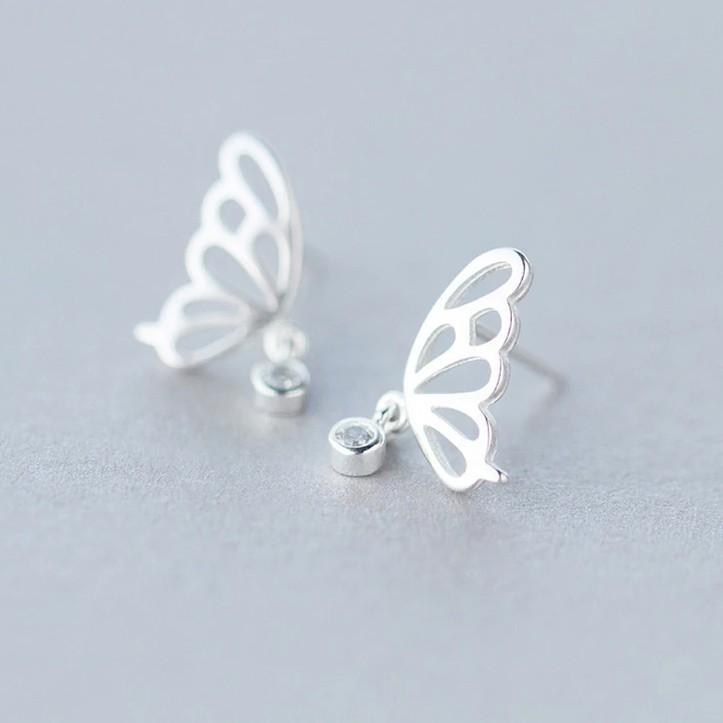 Sterling Silver Symmetry Butterfly Stud Earrings - 925 Real Silver Earrings - Playful Silver Earrings Lux & Rose Default Title