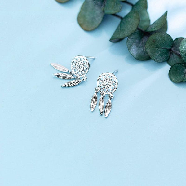 Sterling Silver Tassel Leaf Round Drop Earrings - Stud Dangle Earrings - 925 Real Silver Earrings - Playful Silver Earrings Lux & Rose