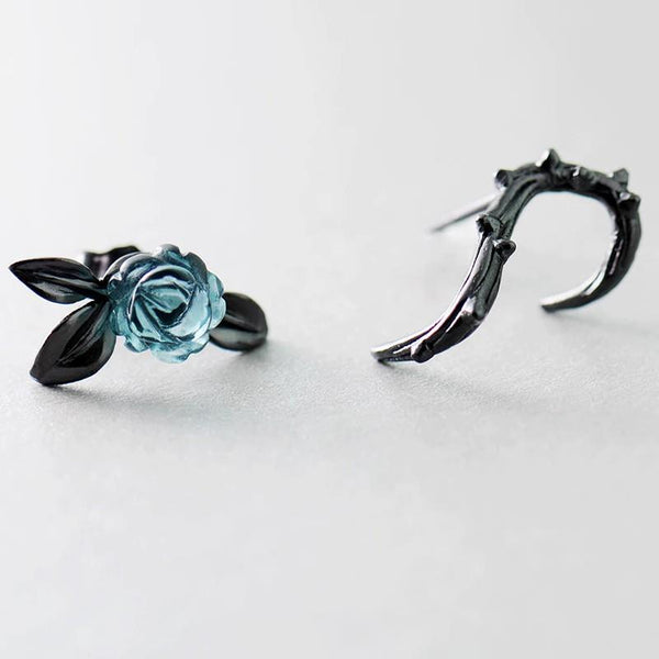 Sterling Silver Thorn Rose Black Stud Earrings - 925 Stud Earrings - 925 Real Silver Earrings - Crystal Design Earrings Lux & Rose Default Title