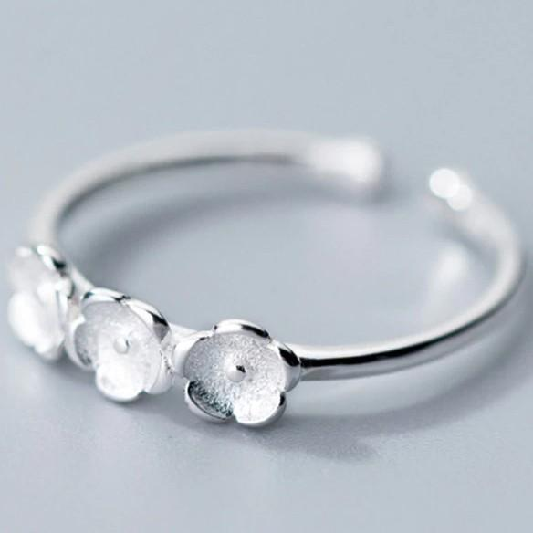 Sterling Silver Three Flowers Cocktail Ring - 925 Real Silver Rings - Classic Silver Rings Lux & Rose