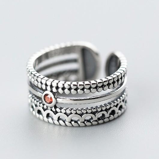 Sterling Silver Three Layer Thai Stripe Ring - 925 Real Silver Rings - Classic Silver Rings - Adjustable Cocktail Ring Lux & Rose