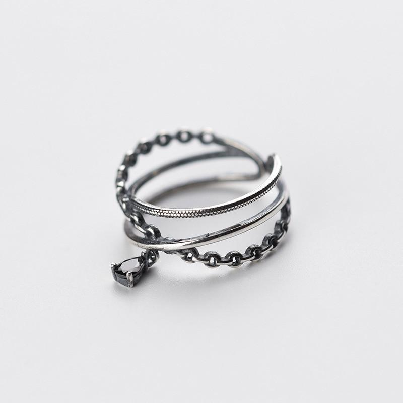 Sterling Silver Three Layers Black Ring - 925 Real Silver Ring - Classic Silver Ring - Adjustable Cocktail Ring Lux & Rose
