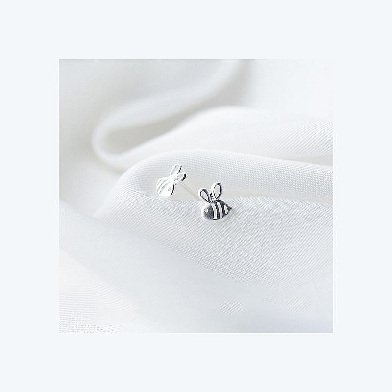 Sterling Silver Tiny Bee Earrings - 925 Stud Earrings - 925 Real Silver Earrings - Playful Silver Earrings Lux & Rose