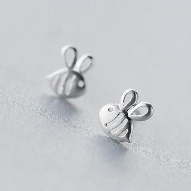 Sterling Silver Tiny Bee Earrings - 925 Stud Earrings - 925 Real Silver Earrings - Playful Silver Earrings Lux & Rose Default Title