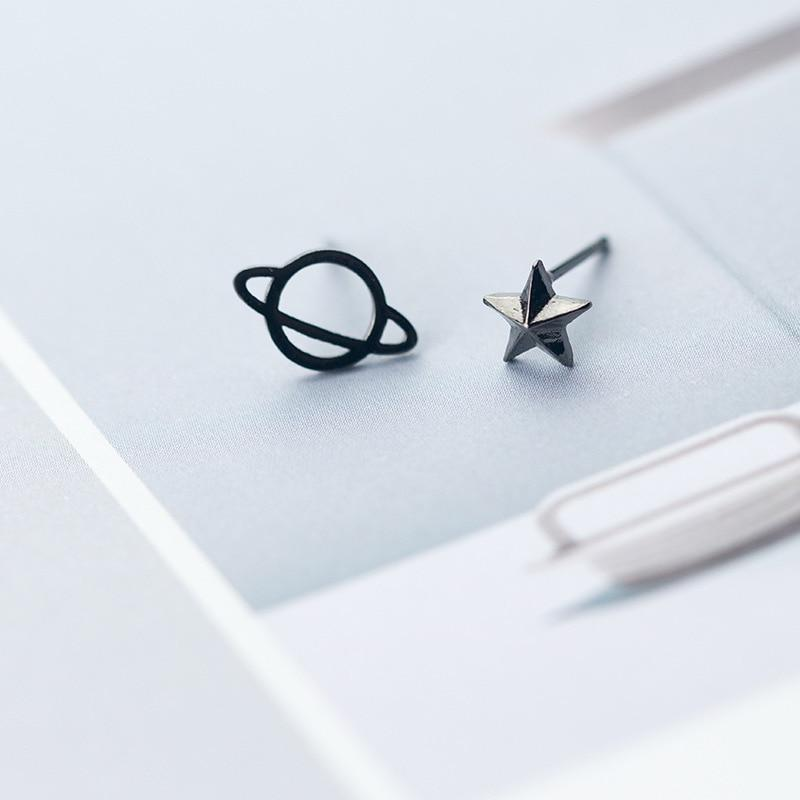 Sterling Silver Tiny Black Asymmetric Universe Star Stud Earrings - 925 Real Silver Earrings - Playful Silver Earrings Lux & Rose