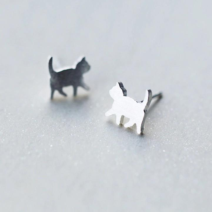 Sterling Silver Tiny Cat Stud Earrings - 925 Stud Earrings - 925 Real Silver Stud Earrings - Cat Stud Earrings - Tiny Cat Earrings - Cute Cat Stud Earrings Lux & Rose Default Title