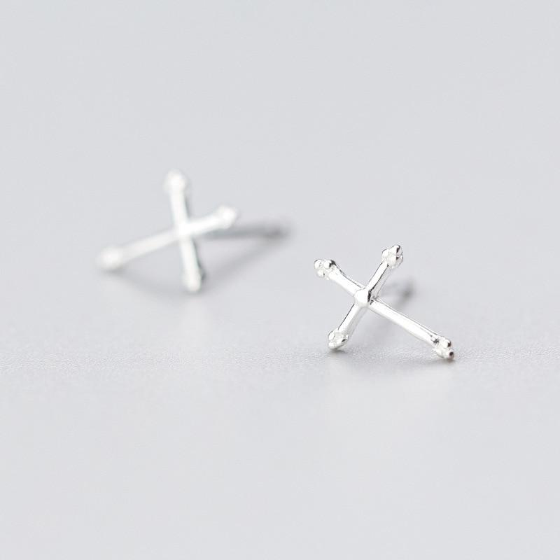 Sterling Silver Tiny Cross Stud Earrings - 925 Stud Earrings - 925 Real Silver Earrings - Minimal Geometric Stud Earrings - Playful Silver Earrings Lux & Rose